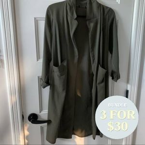 SWS army green duster blazer longline smal